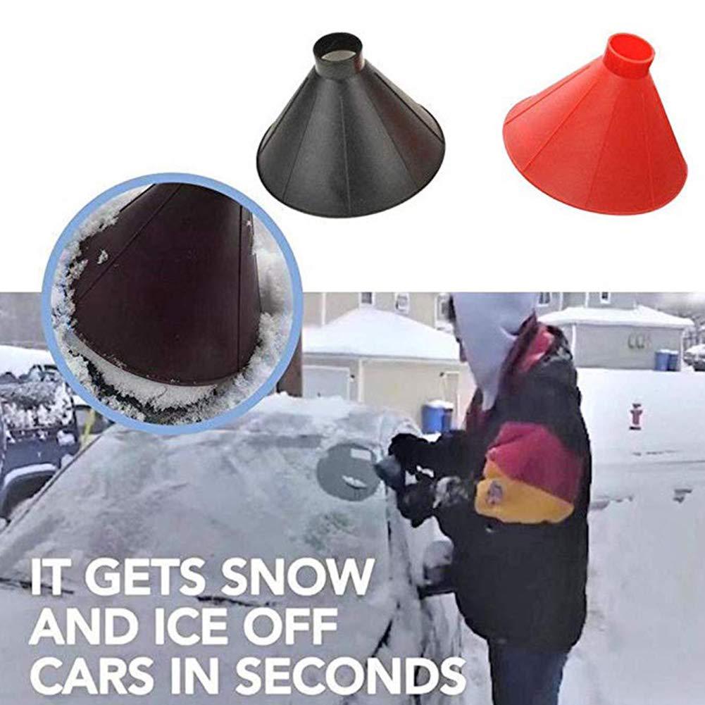 Black Julvie Magic Scraper Cone Car Ice Scraper Snow Shovel Tool Ice Remover Cone Round Cone Funnel Car Windshield Snow Removal Also for Home Window