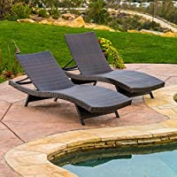 Set of 2 Christopher Knight Home 294919 Lakeport Outdoor Adjustable Chaise Lounge Chair