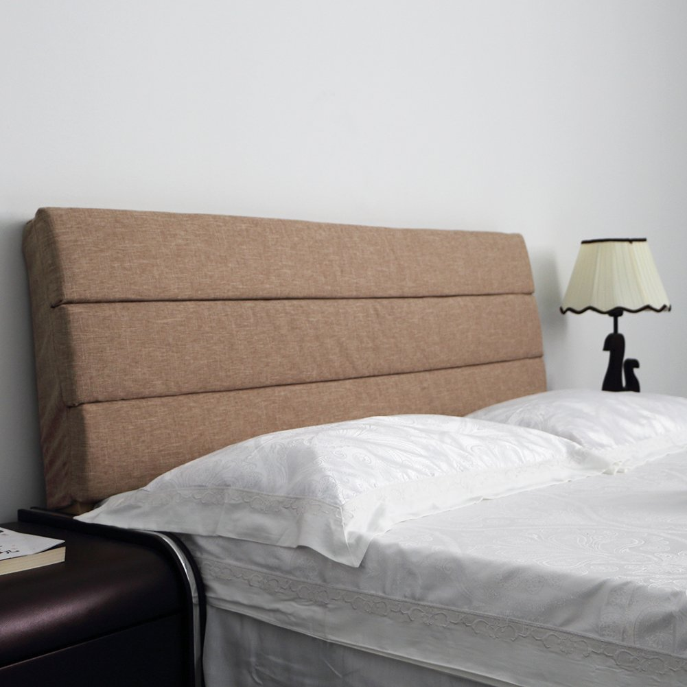 Vercart Sofa Bed Large Upholstered Headboard Filled Triangular Wedge Cushion Bed Backrest Positioning Support Pillow Reading Pillow Office Lumbar Pad with Removable Cover Light Coffee 71x24x2 Inches
