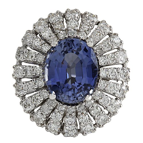 (6.76 Carat Natural Blue Ceylon Sapphire and Diamond (F-G Color, VS1-VS2 Clarity) 14K White Gold Luxury Cocktail Ring for Women Exclusively Handcrafted in USA)