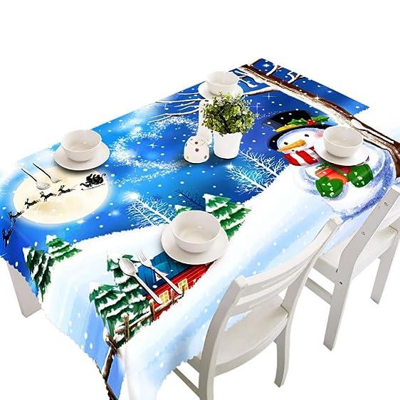 Leyorie Merry Christmas Tablecloth Xmas Rectangular Dining Printed Party  Picnic Table Cloth 80 X
