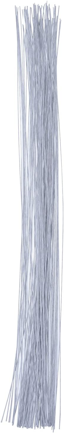 Alambre de Tallo Alambre Floral 14 Pulgadas Alambre de Calibre 26 (0,5 mm) 100 Piezas (Blanco)