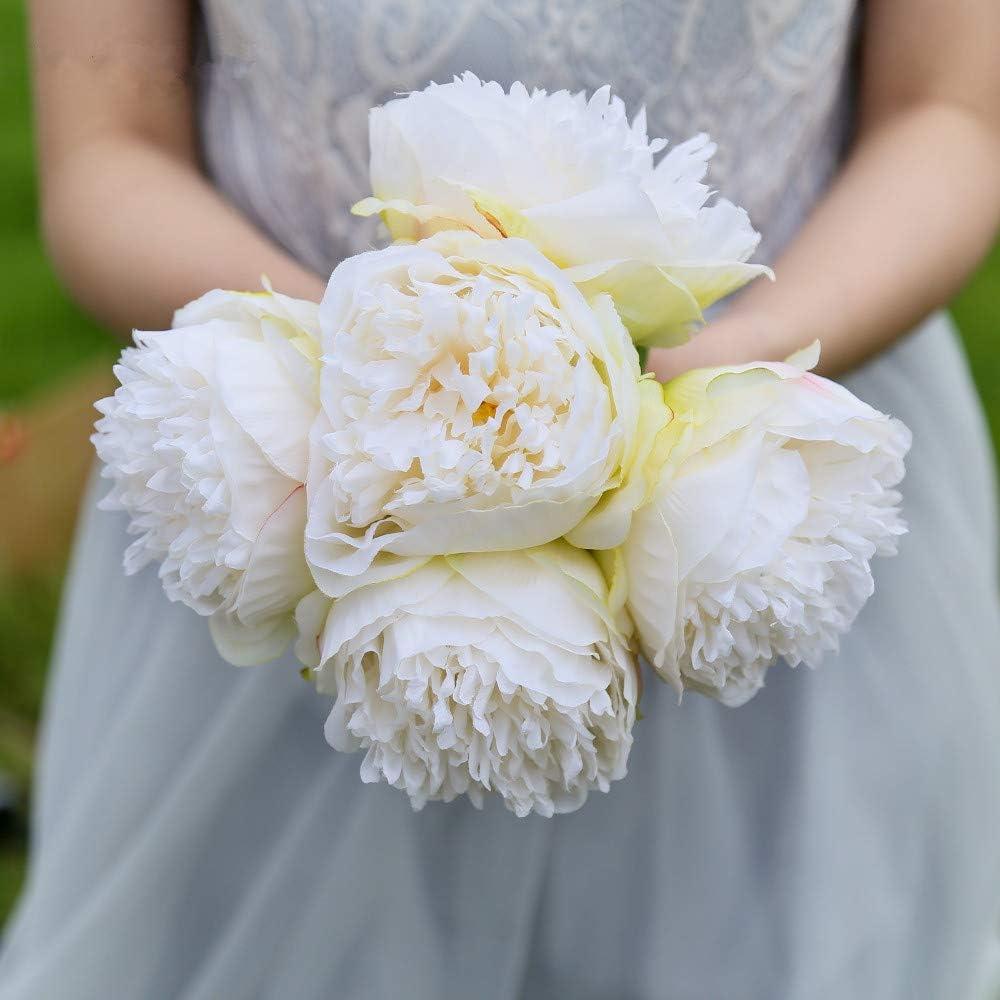DWE 5 Head Artificial Flower,Fake Silk Peony Bridal Bouquet Christmas Wedding Party Home Decorative Light Pink