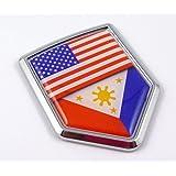 USA Philippine Philippinian American Flag Car Chrome Emblem Decal Sticker
