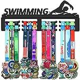GENOVESE Swimming Medals Hanger,Medal Display Rack for Swimmers,Sport Trophies Medal Hangers,Black Metal Holder,Awards Holders