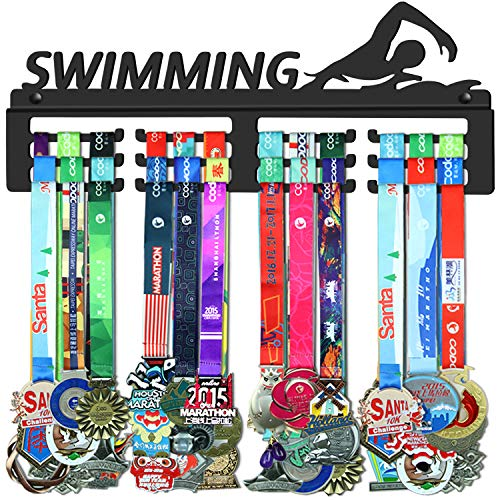 GENOVESE Swimming Medal Holder,Medals Display Hanger Rack for Swimmer,Black Sturdy Steel Metal,Wall Mount Over 50 Medals