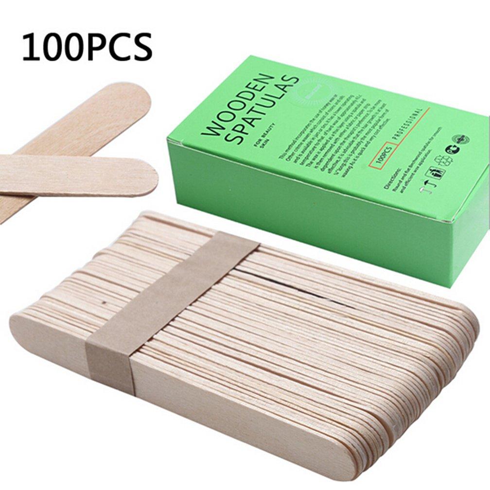 Zcargel 100pcs Wooden Sticks Body Waxing Wax Hair Removal Sticks Wax Applicator Sticks Wooden Waxing Spatulas Mask Stick Disposable Wax Sticks Tool
