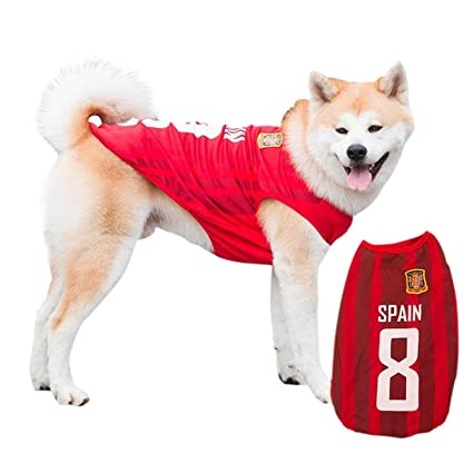 cb0969943 Siray World Cup FIFA Spain National Soccer Team Pet Jersey Dogs Costume  Football T-Shirt