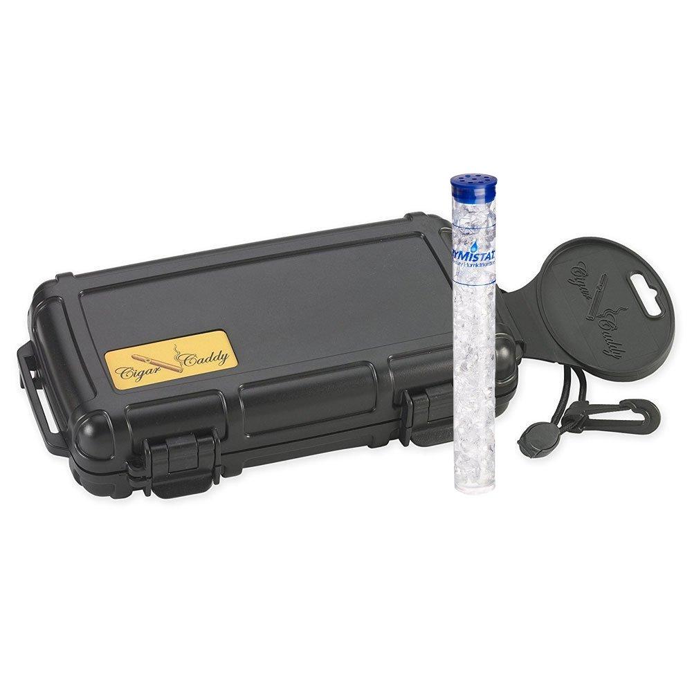 Cigar Caddy 3400 5-Cigar Travel Humidor & Drymistat Humidifier Tube Bundle (Protect Your Cigars and Maintain 70% Humidity) (Caddy & Drymistat Bundle)