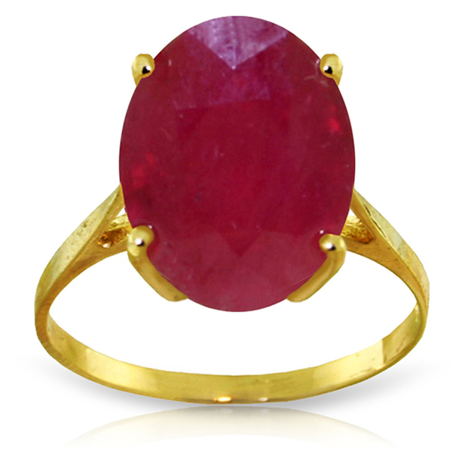 7.5 Carat 14k Solid Gold Ring with Natural Oval-shaped Ruby - Size 7.5