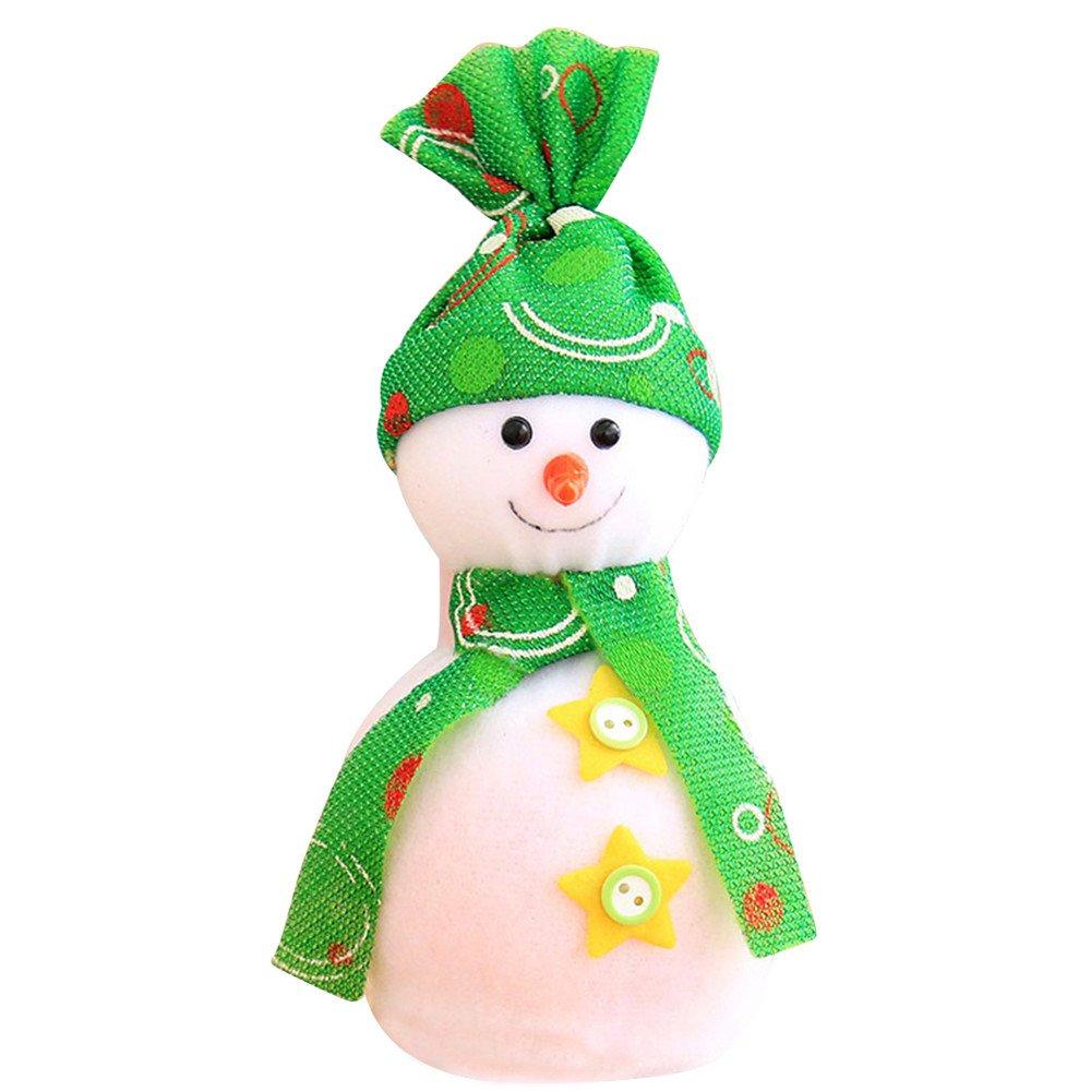 Quietcloud Cute Christmas Snowman Doll Apple Bag Pendant Kids Xmas Gift Party Decoration (Green)