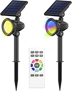 intelamp Solar Spotlights Outdoor 2 Pack Solar Landscape Lights Remote Control Color Changing Waterproof Solar Powered Spot Lights for Garden Yard Wall Patio Lawn Driveway Pathway