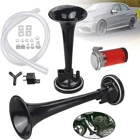 BLACK 12V 178dB Dual Car Horn Super Tone Loud Trumpet Horns Air hose Kit