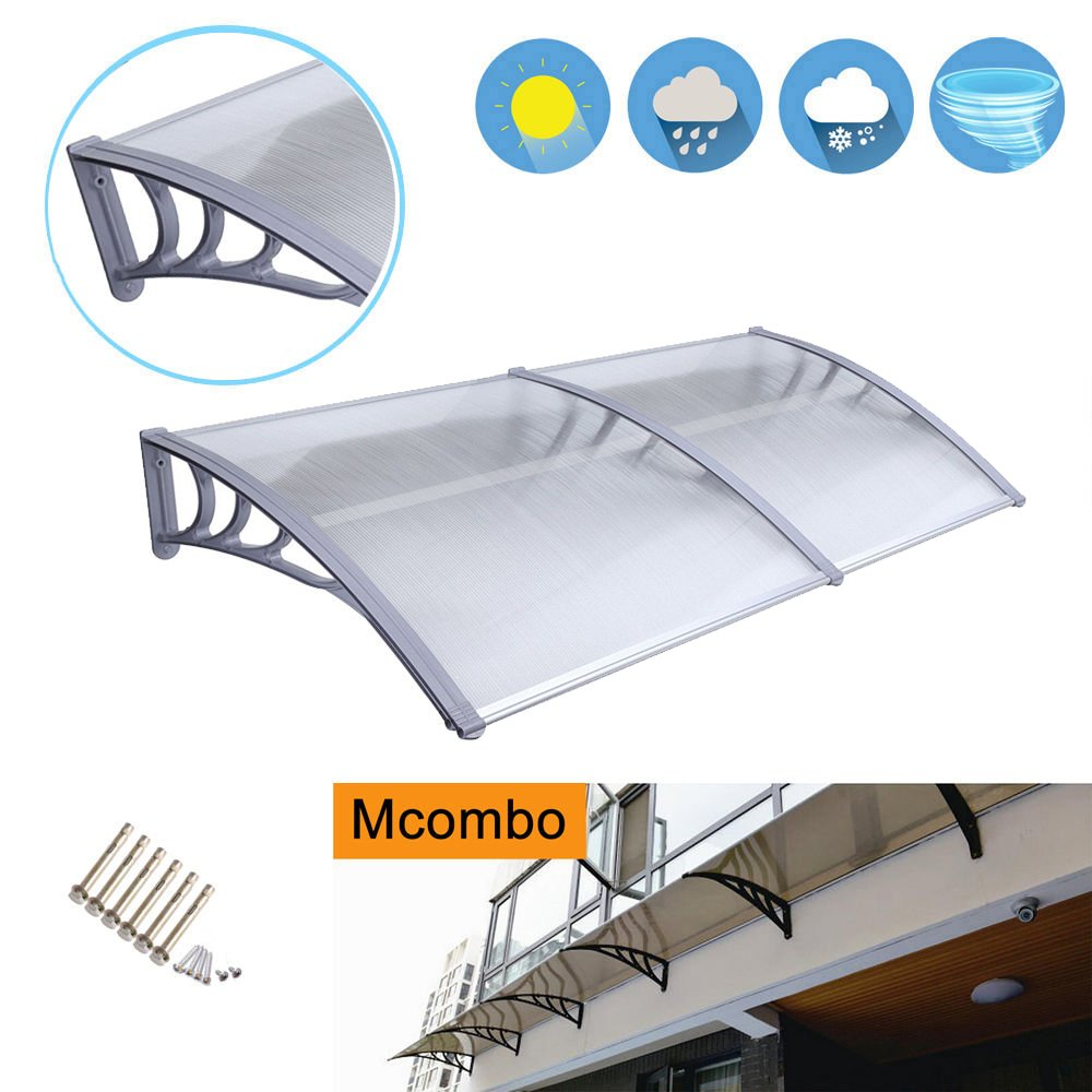 Exacme Mcombo 40''X80'' Window Awning Outdoor Polycarbonate Front Door Patio Cover Garden Canopy 6055-4080 White