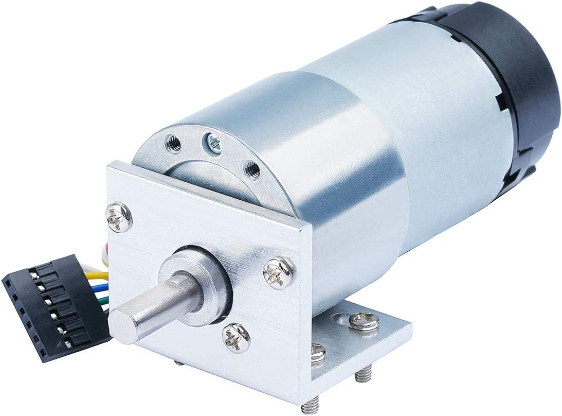 CQRobot Metal DC Geared Motor w/Encoder with Metal Mounting Bracket -12V/13RPM /80Kg.cm.