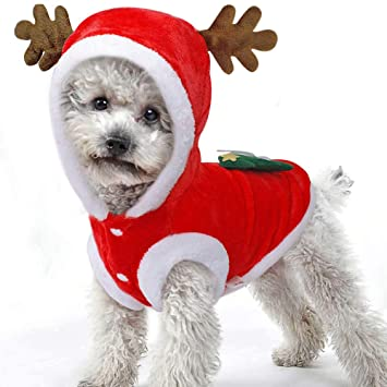 BulzEU Cute Elk Dog Christmas Clothes Pet Costume Hoodie Velvet Coat for  Cats   Dogs Puppy 0fa650dd1