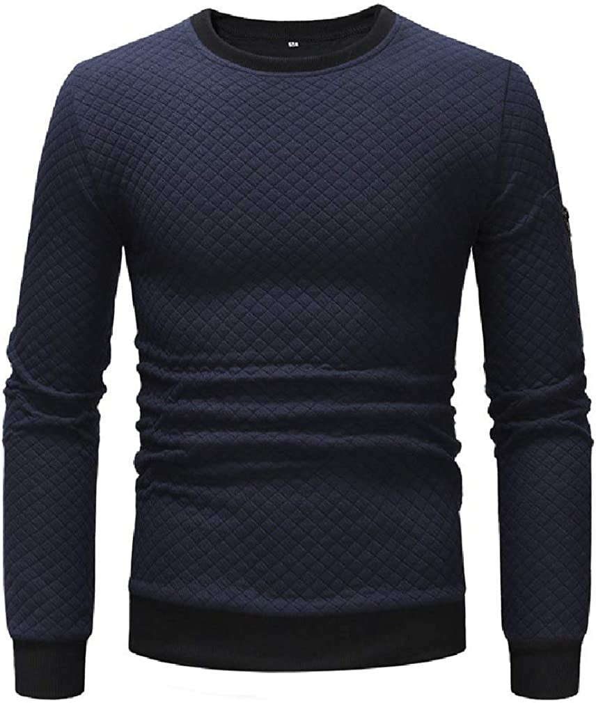 HEFASDM Mens Stitching Pure Color Crew-Neck Long Sleeve Fitted Tunic Top Sweatshirt