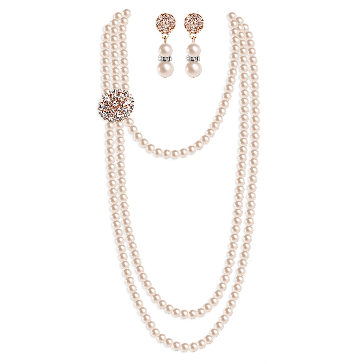 Zivyes 1920s Pearl Necklace Flapper Accessories Fashion Faux Pearl Earrings Gatsby Wedding Jewelry Set