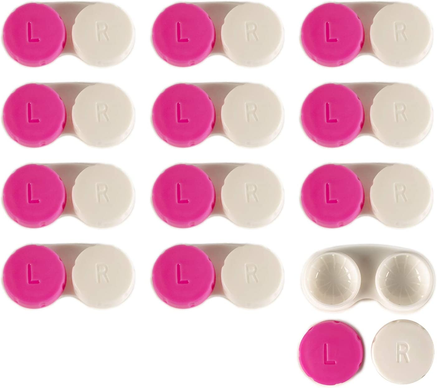 Contact Lens Case 12 Pack Pink Travel Safe Holder Amazon Co Uk Health Personal Care