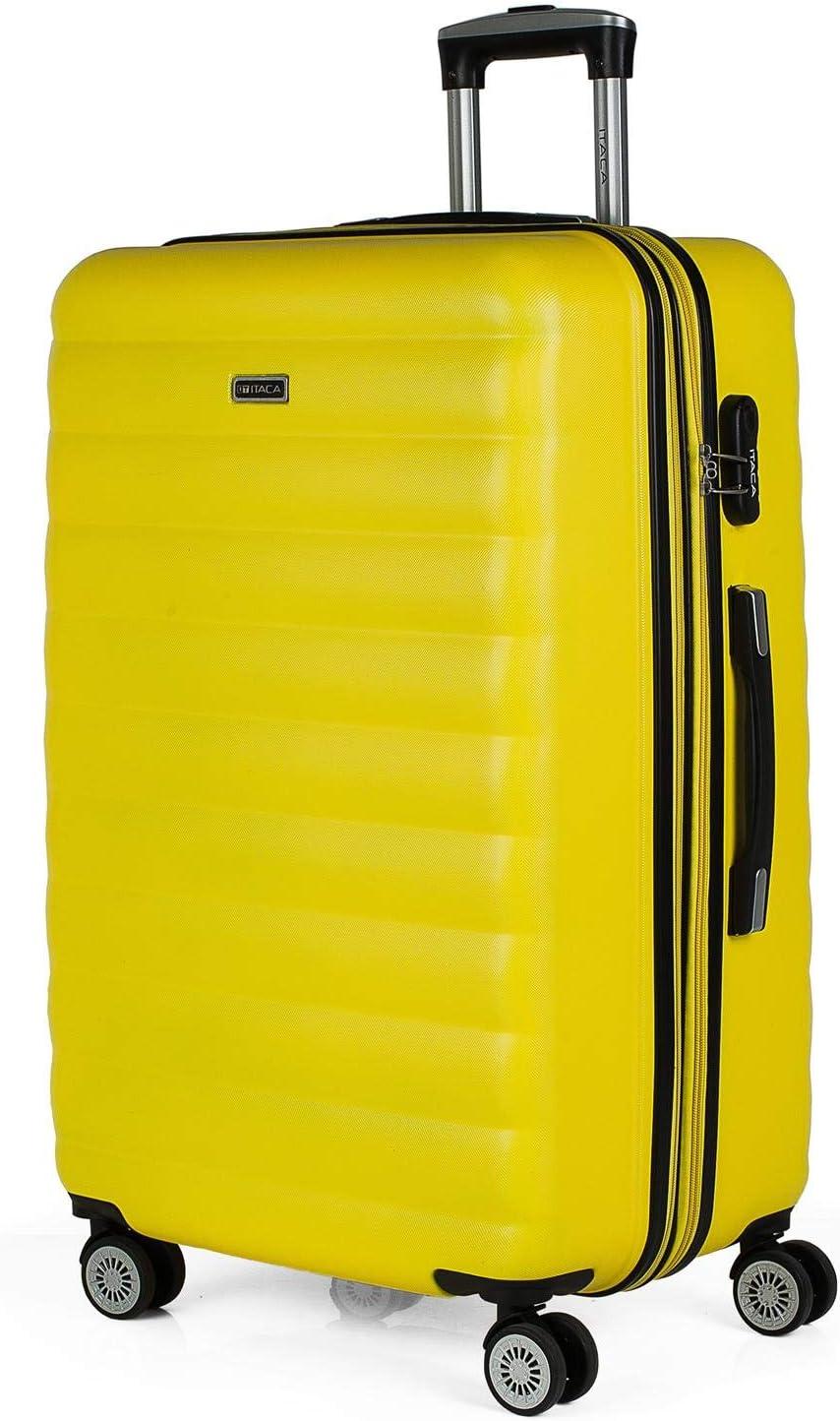 ITACA - Maleta de Viaje Grande 4 Ruedas Trolley 75 cm de ABS. Extensible Dura Rígida Resistente y Ligera. XL Gran Capacidad. Estudiante y Profesional 71270, Color Amarillo