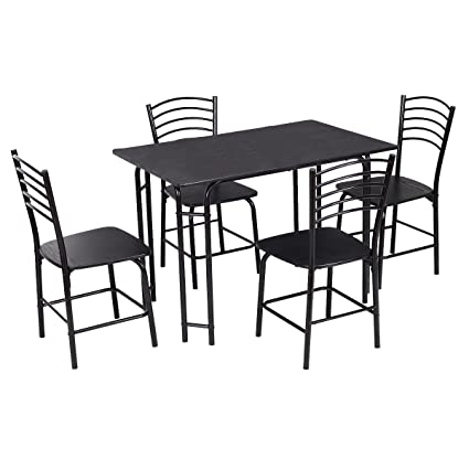 Prime Giantex 5 Pcs Black Dining Set Table 4 Chairs Steel Frame Home Kitchen Furniture Beutiful Home Inspiration Ommitmahrainfo