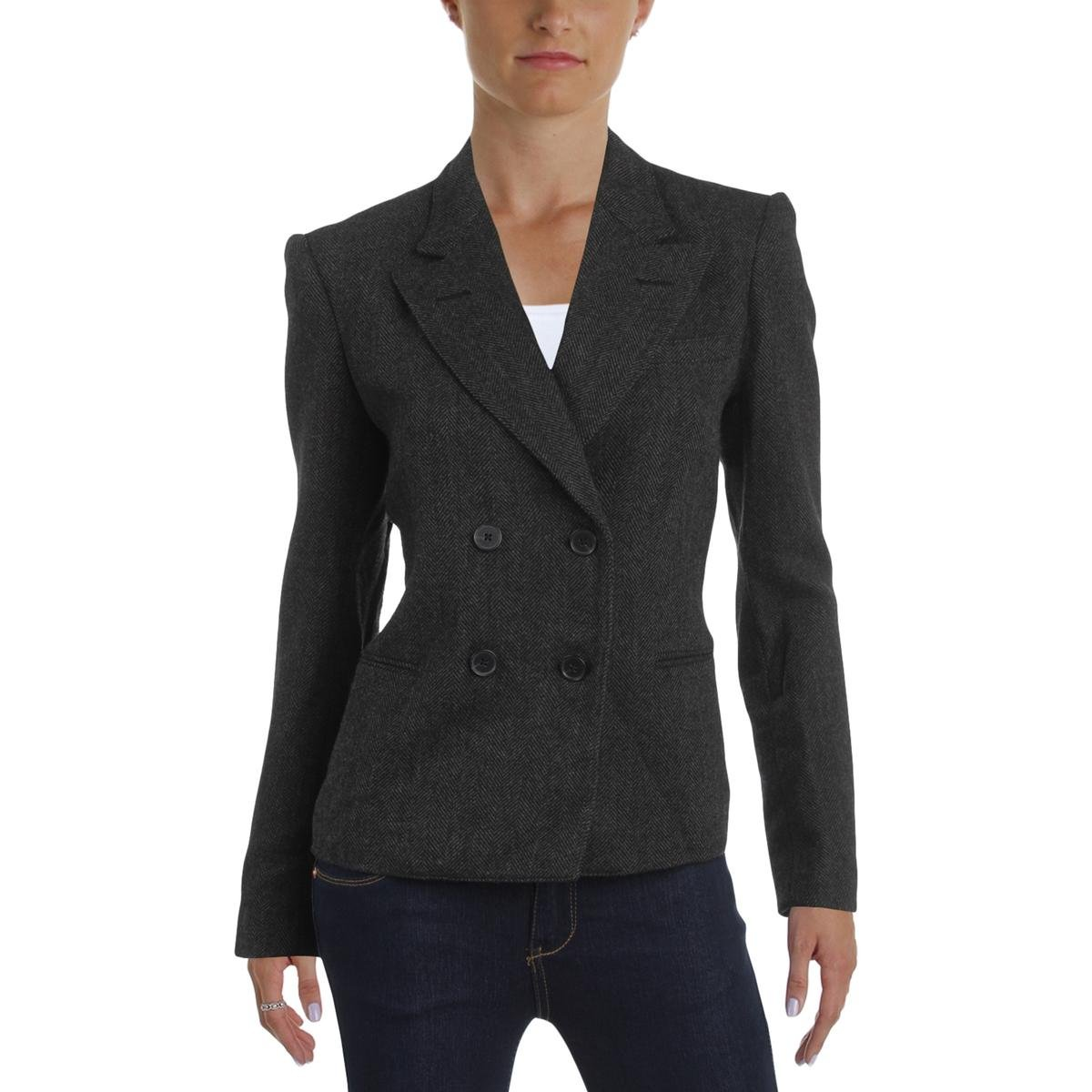 Polo Ralph Lauren Womens Double Breasted Wool Two-Button Blazer Black 6 by Polo Ralph Lauren
