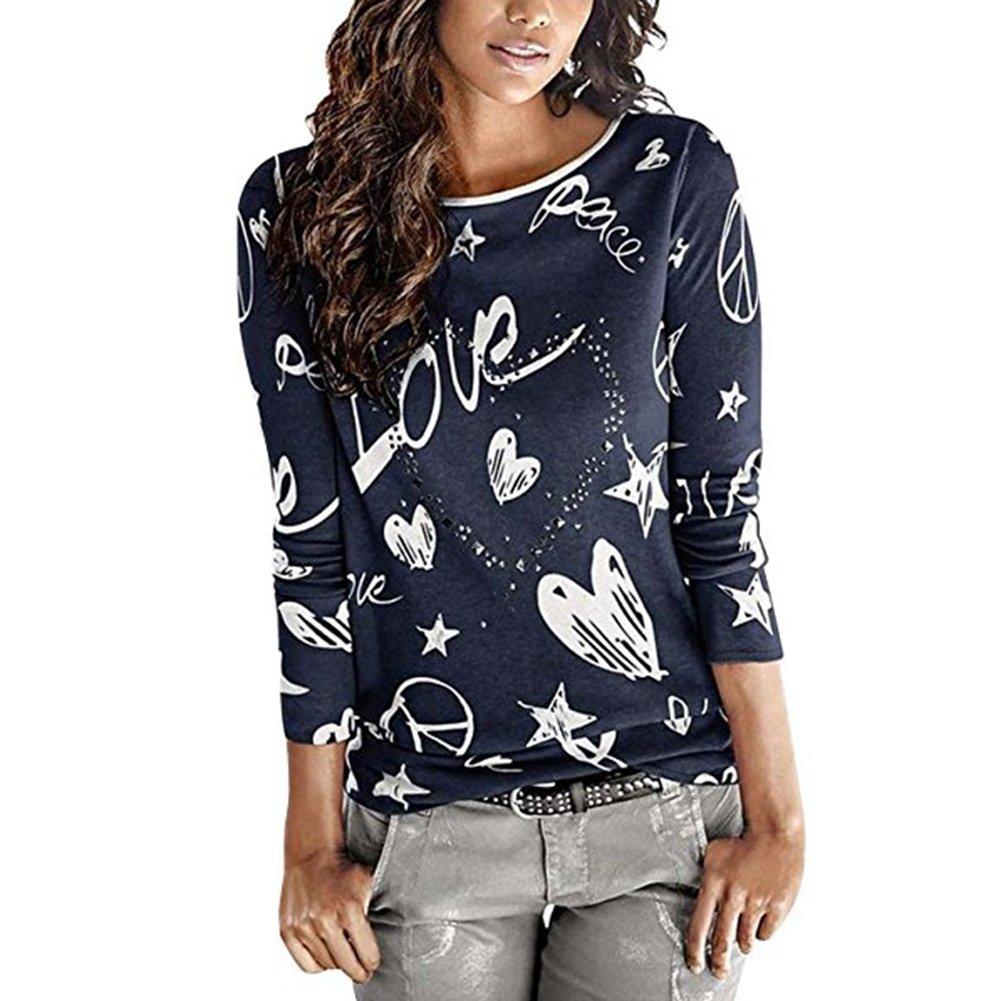 Kootk Señoras Blusa Pullover Mujer Largo Manga Tops Suelto Camiseta Prendas de Punto Sayo Casual Tops Elegante Impreso Camisa Saltador S - 2XL: Amazon.es: ...