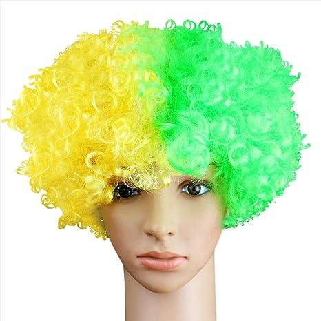 Peluca Afro,Fascigirl Creativo Banderas Nacionales Traje de Peluca Fiesta Peluca de Payaso Afro Payaso