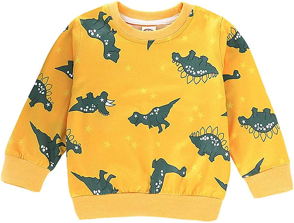 Gyratedream Boys Girls Sweatshirts Yellow Dinosaur Printed Crewneck T-Shirt Long Sleeve Tops for 1-7 Years Old Kids