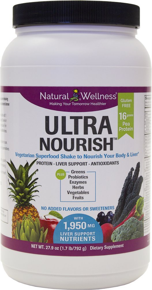UltraNourish Vegetarian Superfood Shake – Total Body Support for the Liver, Heart and Digestive Health – 26.7oz Natural Wellness 16g Pea Protein Powder Drink Mix – Gluten Free Unsweetened -30 Servings