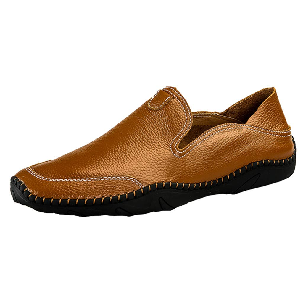 Summer Crew Shoes Men's Modern Classic Lace Up Breathable Leather Lined Perforated Flat Shoes Brown
