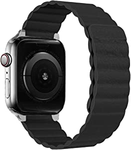 iBazal Leather Magnetic Band Compatible with iWatch Band 44mm 42mm 40mm 38mm, Adjustable Leather Strap with Strong Magnetic Closure for iWatch Series SE/6/5/4/3/2/1(Black-42/44
