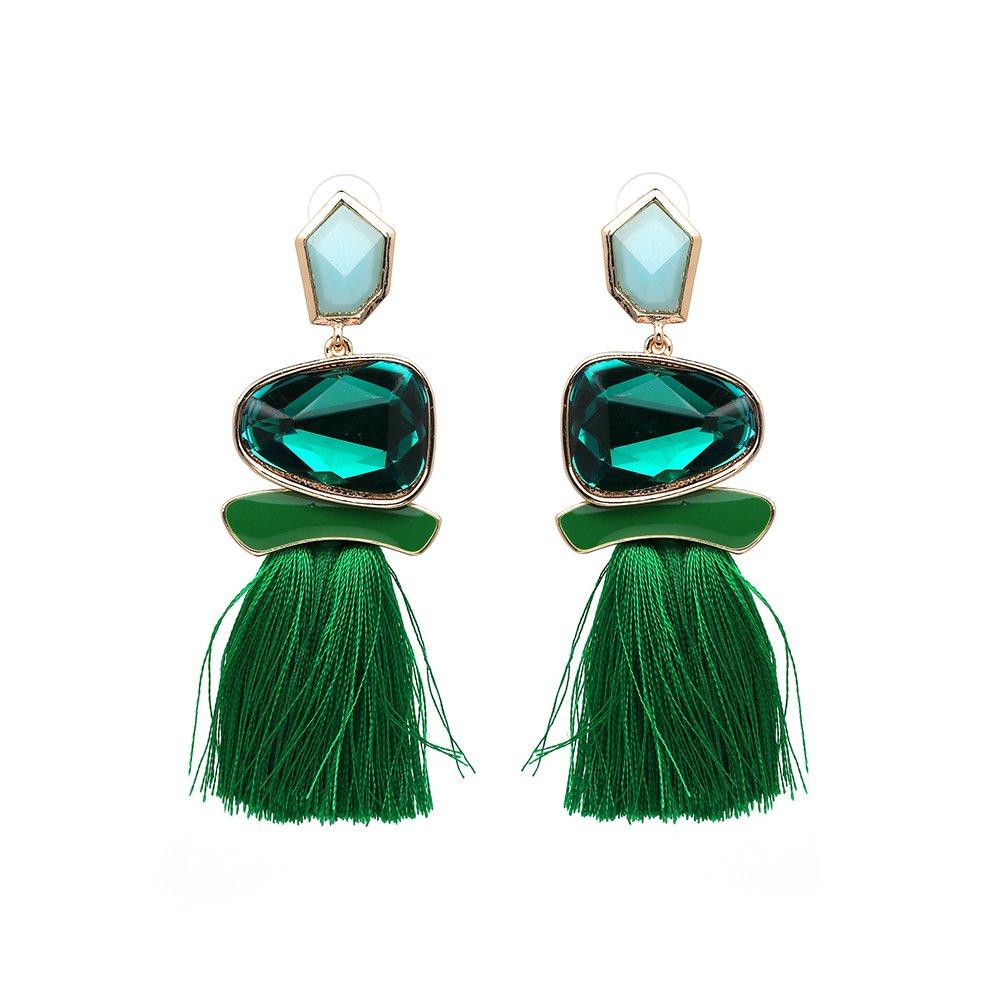 Mall of Style Green Tassel Earrings Bohemian Fringe Tassel Dangles (Green)