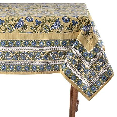 Mahogany Kaveri Yellow Tablecloth, 60u0026quot; X 90u0026quot;