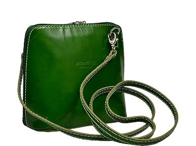 87ff85eb8c799 Schöne praktische Leder Grüne Handtasche aus Leder Grana Verde über die  Schulter