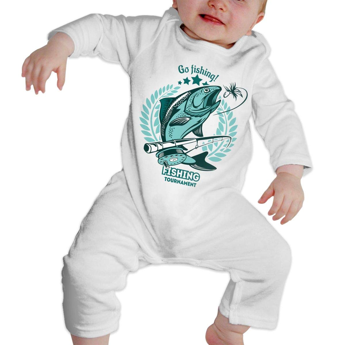 Baby Crew Neck Long-Sleeve Pure Color Romper Fishing Emblem Crawling Suit