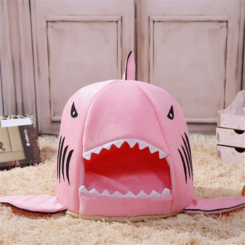 Wuwenw rosa   Pet Products Warm Soft Dog House Pet Sacco A Pelo Shark Dog Kennel Gatto Cane Letto Cat House 32X32X36Cm