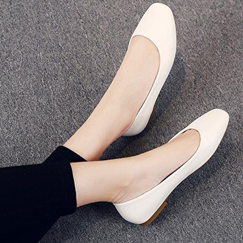 GAOLIM Fiesta De Verano El Nivel De La Cabeza Tan Baja Como Zapatos De Mujer Negro Zapatos De Trabajo Los Zapatos De Trabajo Profesional. Blanco