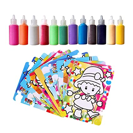 Lomalson Colored Sand Art Kit Creative 12 Colors Sand Painting with 20 Sheets Art Cards