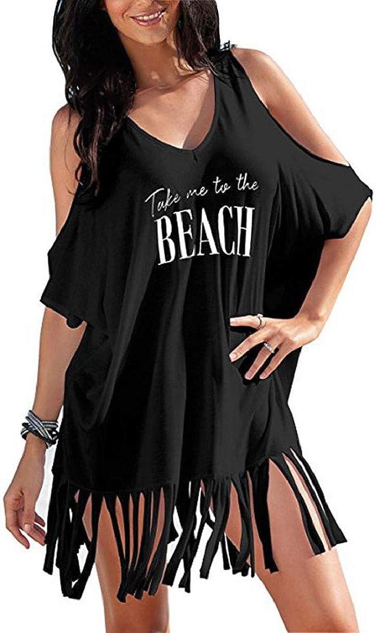 heekpek Vestido de Playa Mujer Blusas Chales Camisolas y Pareos Trajes de baño Sexy Bikini Cover ups Borla Camisola Playero Ropa Verano