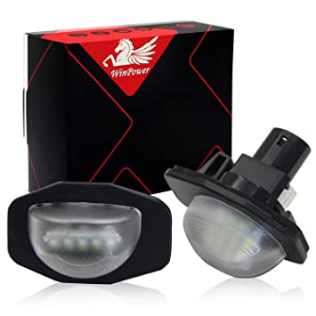 Win Power Led Luces de matrícula 12V Coche CanBus SMD Xenon Blanco 6000k, 2Pcs: Amazon.es: Coche y moto