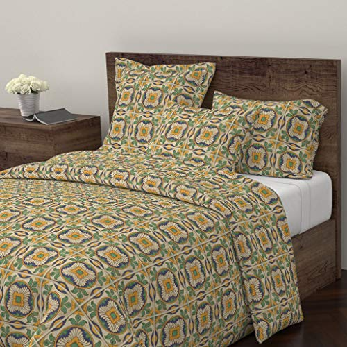 Roostery Spanish Tiles Duvet Cover Golden Flowers Green Leaves Architectural Vintage Inspired Mexican Tile by Jewelraider 100% Cotton Queen Duvet Cover