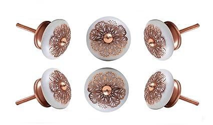 Amazon.com: Juego de 6 pomos de cerámica., Blanco ...