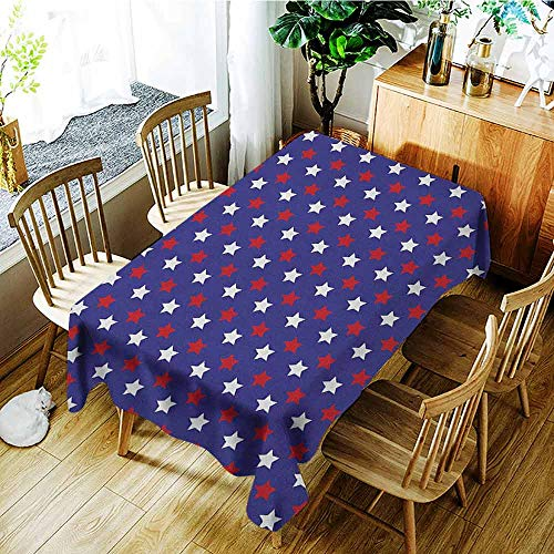 (XXANS Custom Tablecloth,USA,United States of America Theme Federal Holiday Celebration Revolution Design,Party Decorations Table Cover Cloth,W50x80L Dark Blue Red)