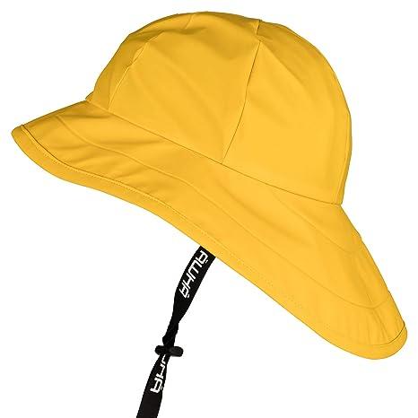 AWHA Südwester Cappello da Pioggia Giallo Unisex - Berretto Impermeabile  con Ampia Visiera e paraorecchie 13fb41ea9489