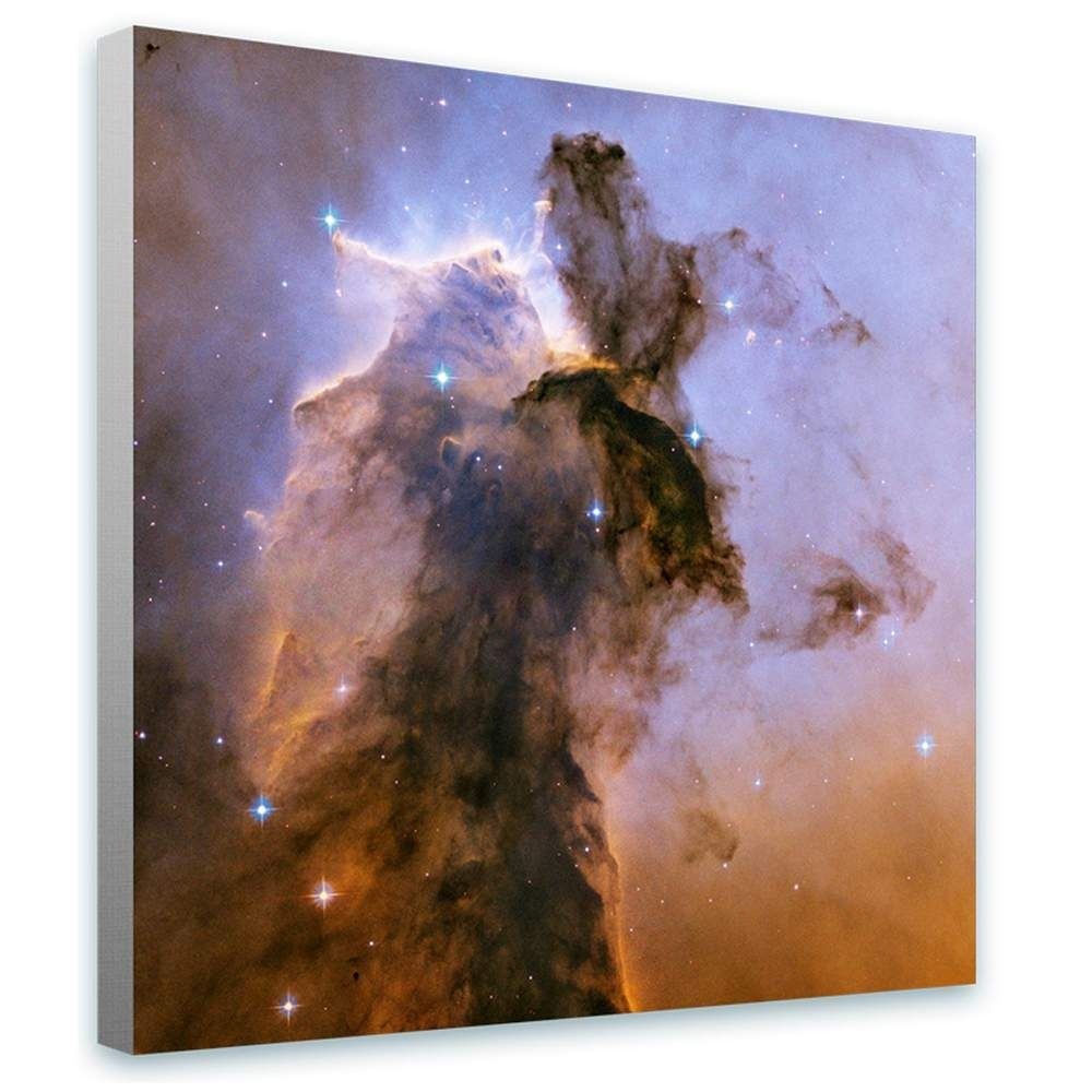 Alonline Art - Pillars of Creation NASA Hubble Stars Space Galaxy Framed Stretched Canvas (100% Cotton) Gallery Wrapped - Ready to Hang | 32''x32'' - 81x81cm | Framed Decor for Bedroom Framed Wall Art