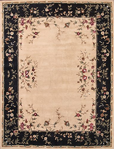 Rug Source New Aubusson Floral Transitional Hand-Tufted 10x13 Beige Wool Oriental Area Rug (13' 0