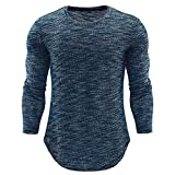 Men's Blouse  -HOT SALE!! Farjing Fashion Personality Men's O Neck Casual Slim Long Sleeve Shirt Top Blouse (2XL,Blue)