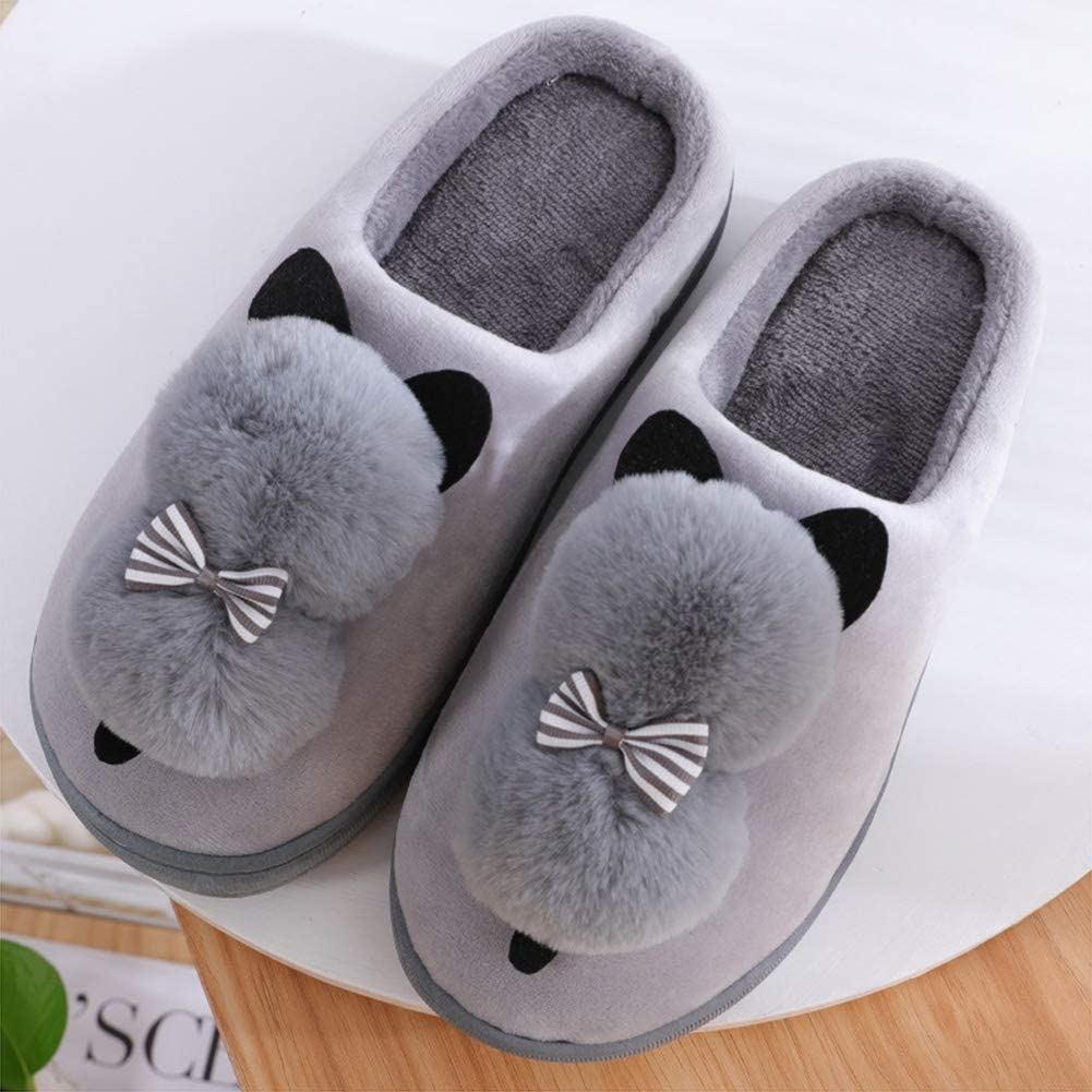 EU 38//39 MTXA Winter Cotton Slippers Heating Soft Slippers Comfortable Home Non-Slip Slippers with Ladies Cartoon Gray