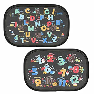 Intipal Pack of 2 Static Cling Baby Car Window Sun Shade - Auto Sunshades Protector with Cartoon Pattern to Block Damaging UV Rays & Bright Sunlight & Heat for Kids Child Pets (Letters & Numbers)